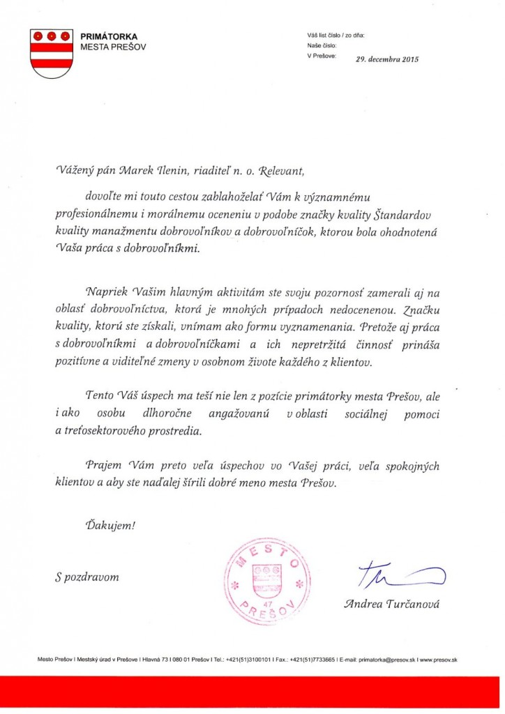 Blahoželanie primátorky Prešova k oceneniu